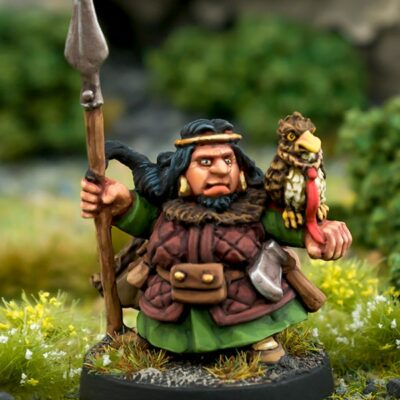 Beardfolk Dwarven Spearmaiden 28mm white metal miniature northumbrian tin soldier