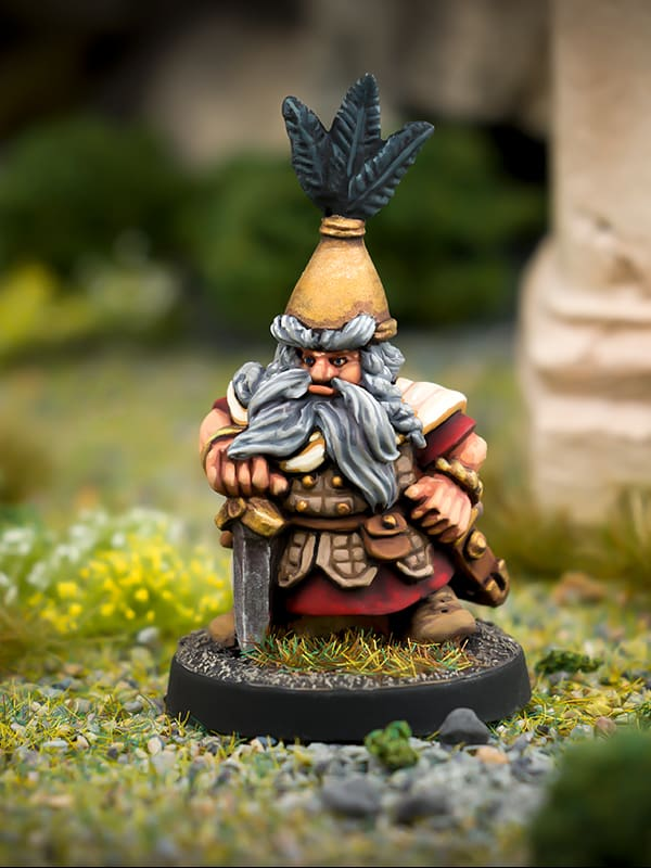 Beardfolk Dwarven Captain 28mm white metal miniature northumbrian tin soldier