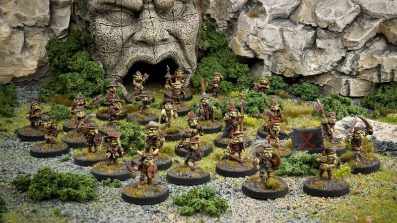 Foggy Peak goblin tribe of 28 individualy based 28mm fanstasy miniatures in high quality white metal from Northumbrian Tin Soldier in the Foggy Peaks under ruins