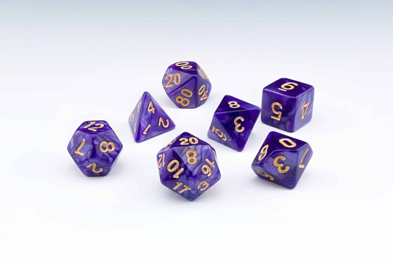 Miasma Purple pearlescent set of 7 RPG dice with Gold numbers from Northumbrian Tin Soldier on a white background