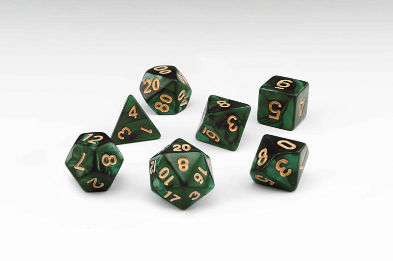 Yggdrasil dark green pearlescent set of 7 RPG dice with Gold numbers from Northumbrian Tin Soldier on a white background