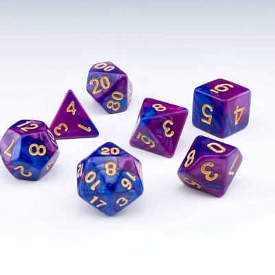 Regis purple and blue blended colour set of 7 RPG dice with Gold numbers from Northumbrian Tin Soldier on a white background