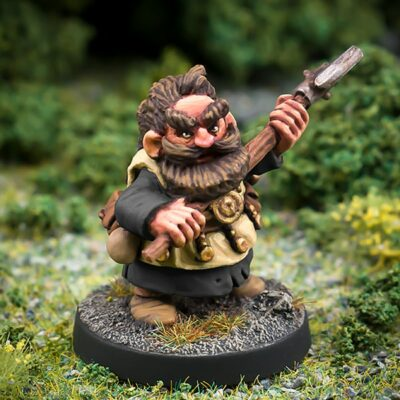 Lothur Ogrebane male Dwarf axeman 28mm fanstasy miniatures in high quality white metal from Northumbrian Tin Soldier in the Darkewood standing on Grass