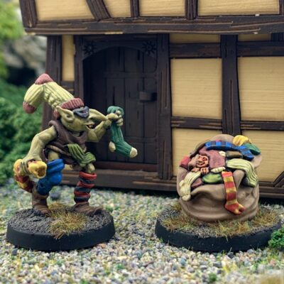 Sock Thief Goblin and Sock Sack 28mm fanstasy miniatures in high quality white metal from Northumbrian Tin Soldier in a Village standing on Gravel