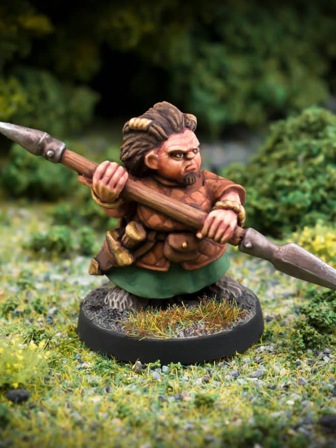 Tussa Badglaive female Dwarf bladedancer 28mm fanstasy miniatures in high quality white metal from Northumbrian Tin Soldier in the Darkewood standing on Grass