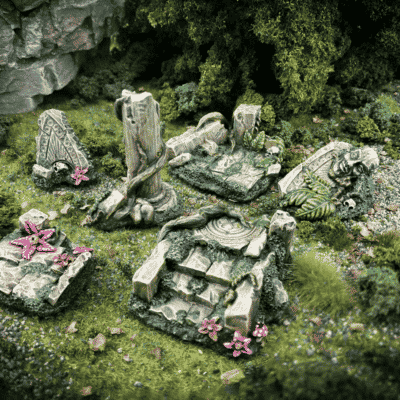 Ruined overgrown stone pathways and pillars miniature terrain